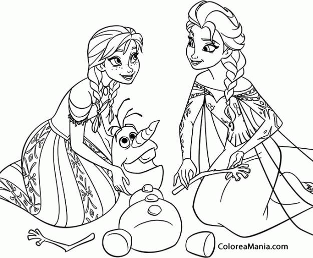 Colorear Montando a Olaf (Frozen), dibujo para colorear gratis