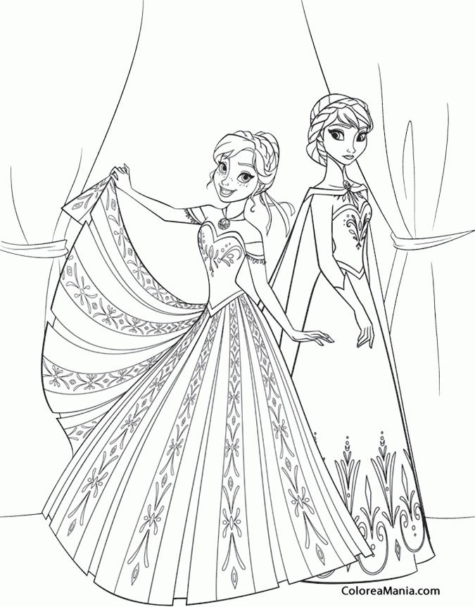 Colorear Elsa Y Anna Frozen Dibujo Para Colorear Gratis