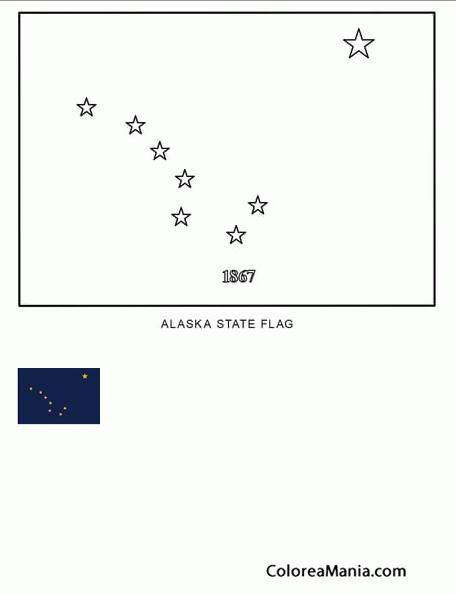 Colorear Alaska (estado de U.S.A.) (Banderas de paises), dibujo para ...