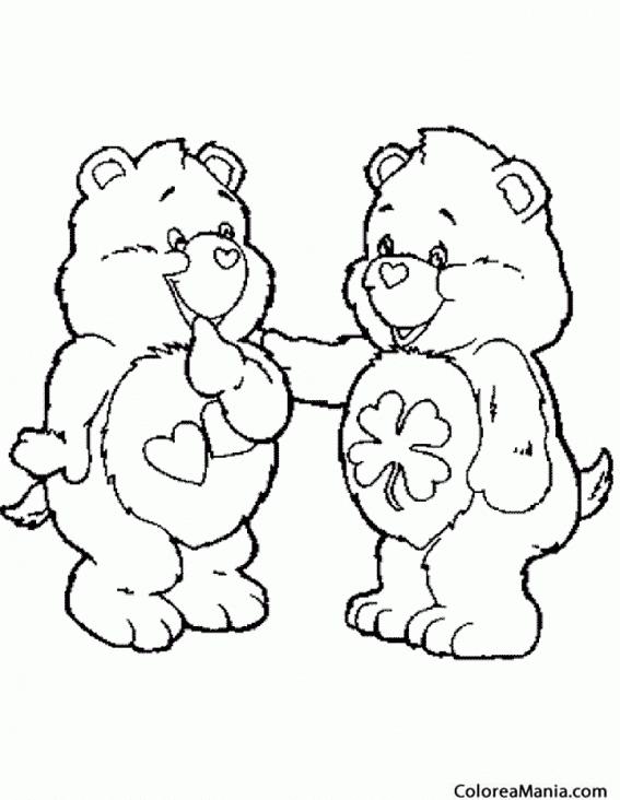 Colorear Dos Ositos corazón (Animales de la Selva), dibujo para ...