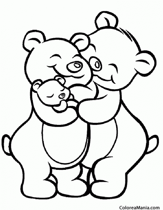 Colorear Pareja Osos amorosos (Animales de la Selva), dibujo para ...