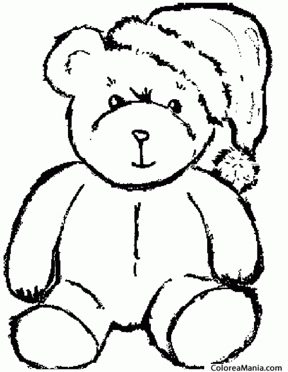 Colorear Oso con gorro navideño (Animales de la Selva), dibujo para ...