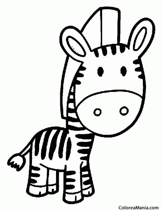 Colorear Cebra con cabeza grande (Animales de la Selva), dibujo para ...