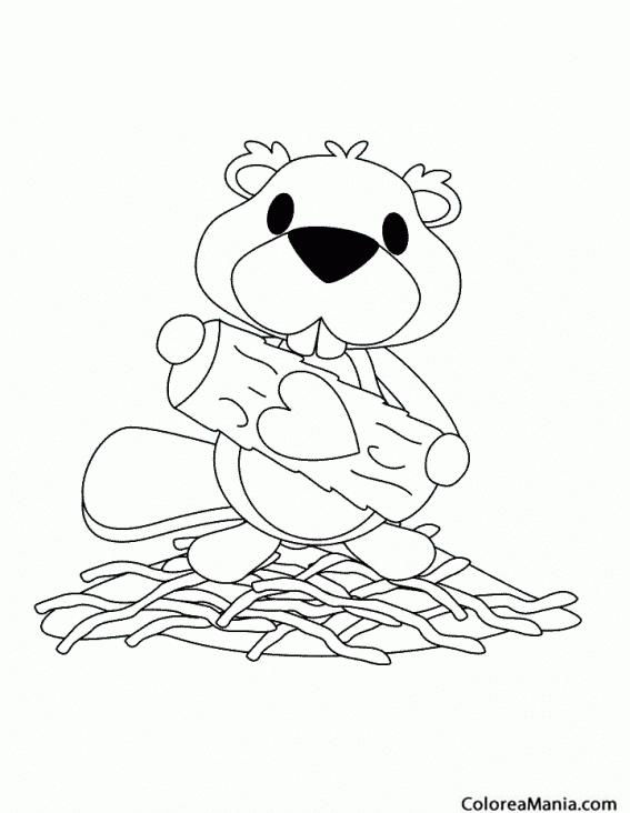 Colorear Castor con tronco corazón (Animales del Bosque), dibujo ...