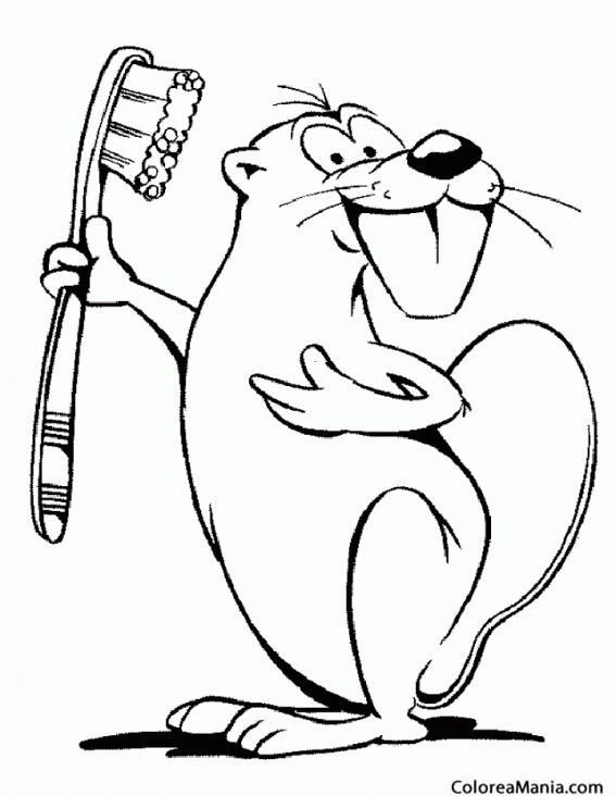 Colorear Castor con cepillo de dientes (Animales del Bosque), dibujo ...