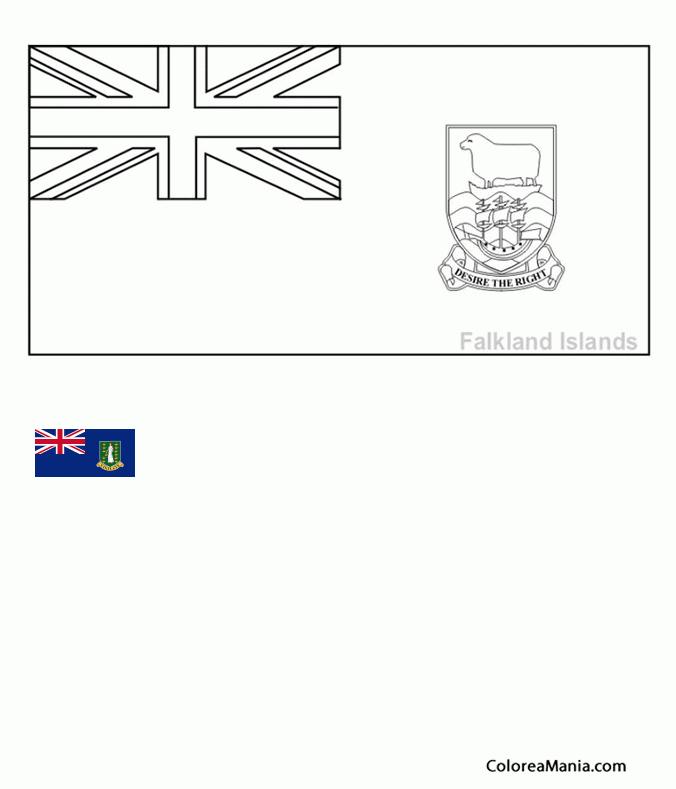 Colorear Islas Vírgenes Británicas (Banderas de paises), dibujo para ...