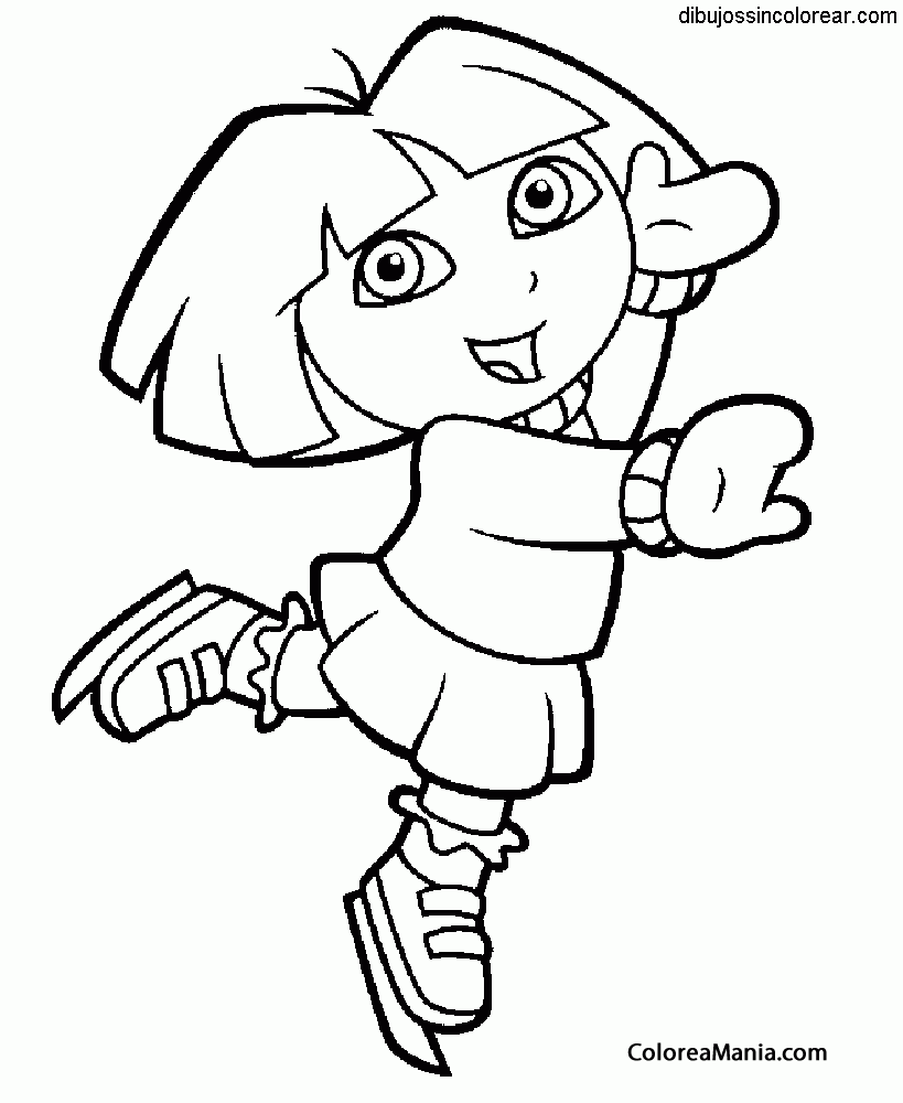 Colorear Dora patina sobre hielo (Dora la exploradora), dibujo para ...