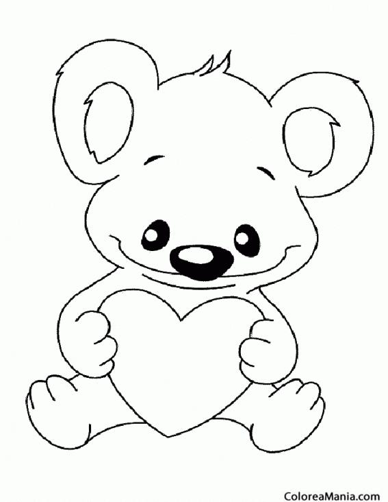 Colorear Koala corazón (Animales del Bosque), dibujo para colorear ...