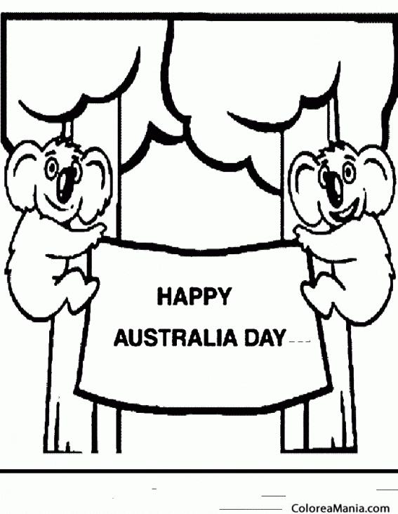 Colorear Koalas, feliz día de Australia (Animales del Bosque ...
