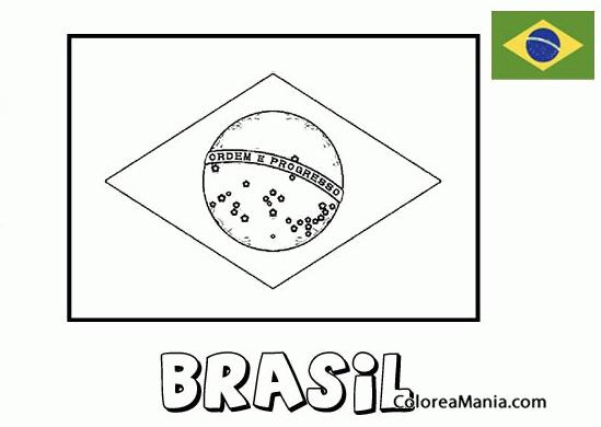 Colorear Brasil. Brazil (Banderas De Paises), Dibujo Para