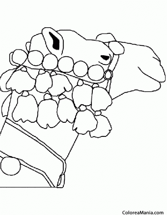 Colorear Cabeza Camello (Animales del Desierto), dibujo para ...