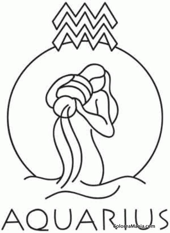 Colorear Acuario (Símbolos Zodíaco), dibujo para colorear gratis