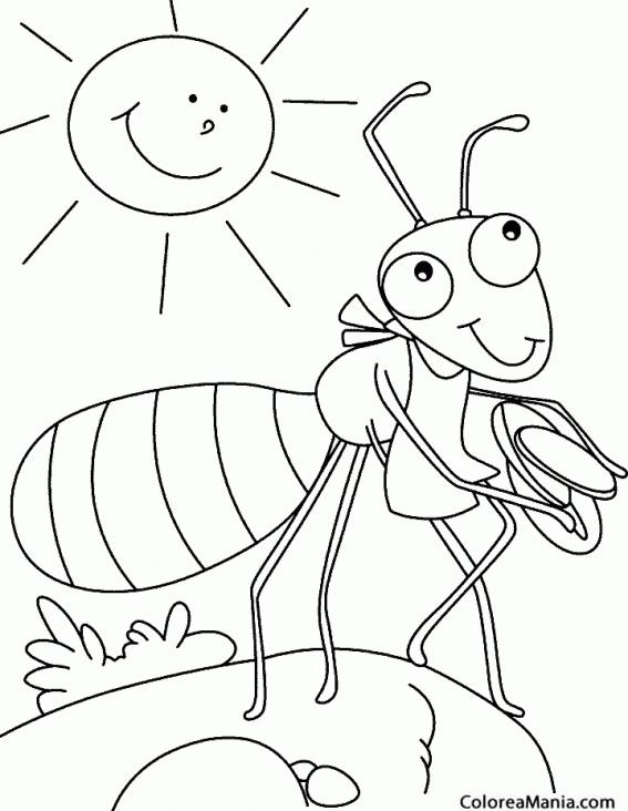 Colorear Hormiga comiendo un bocata Insectos dibujo para