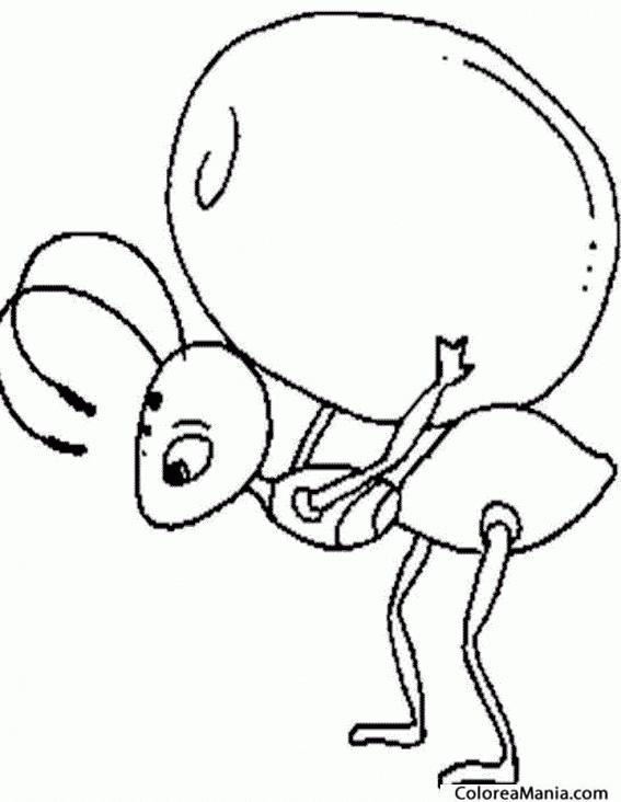 Colorear Hormiga cargando huevo (Insectos), dibujo para colorear