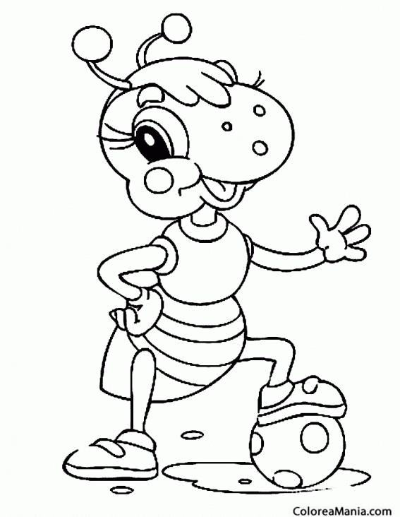 Colorear Hormiga jugando a fútbol (Insectos), dibujo para colorear ...