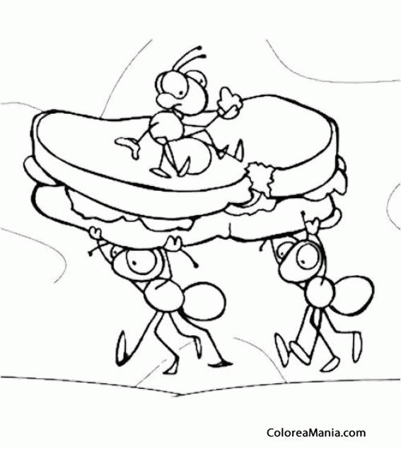 Colorear Hormigas cargando con un sandwich Insectos dibujo para