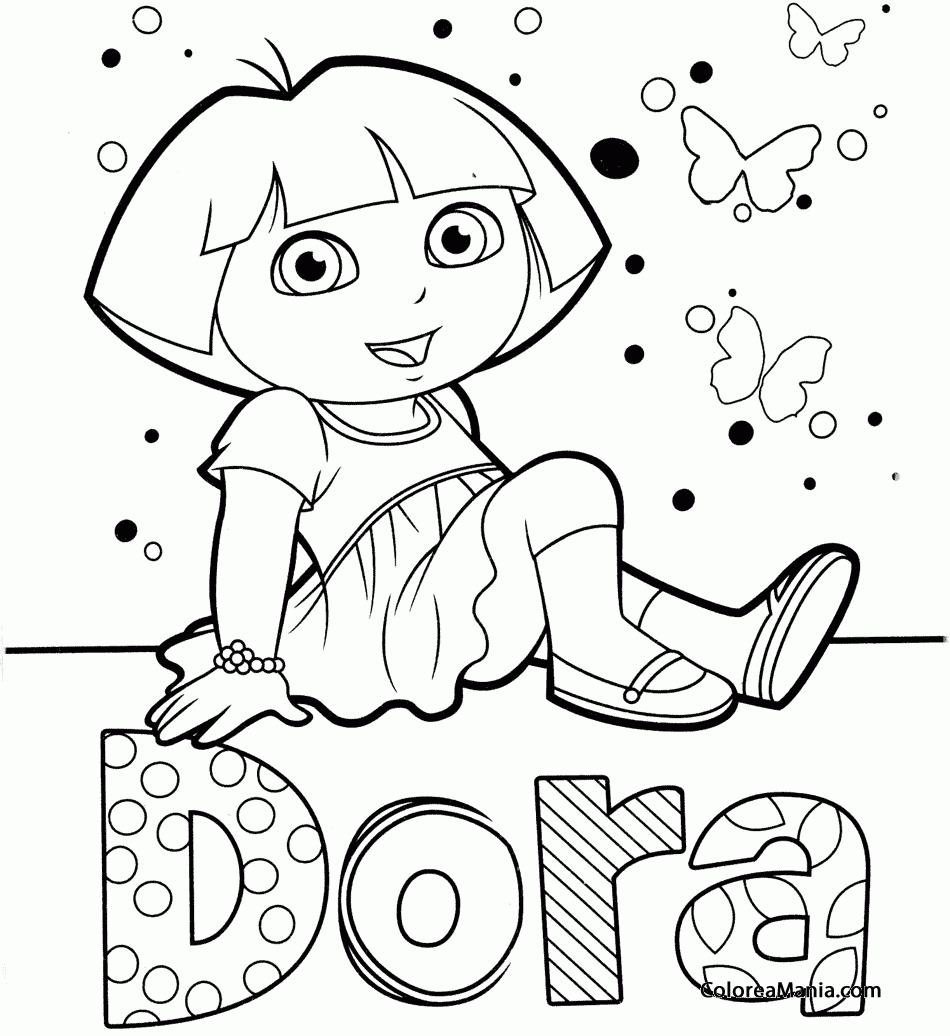 Colorear Dora (con su nombre) (Dora la exploradora), dibujo para ...