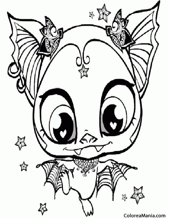 Colorear Murciélago Gótico Animales Del Bosque Dibujo