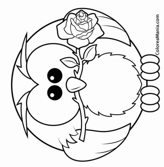 Colorear Búho con rosa en la boca (Aves), dibujo para ...