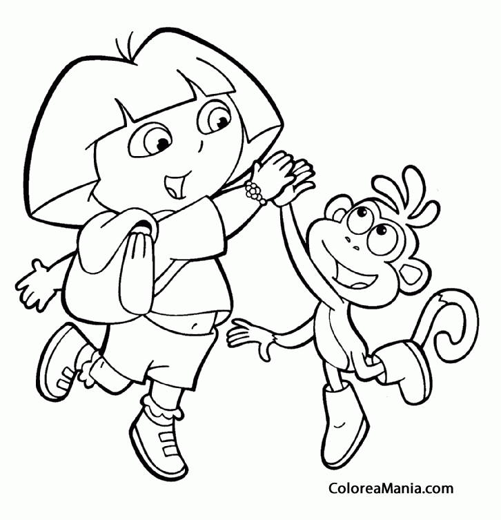 Colorear Dora palmotea a Botas (Dora la exploradora), dibujo para ...