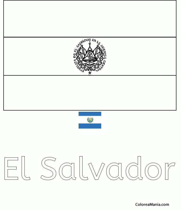 Dibujo De La Bandera De El Salvador Para Colorear