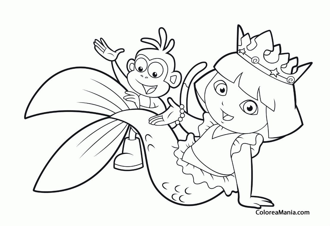 Colorear Dora disfrazada de sirena (Dora la exploradora), dibujo ...