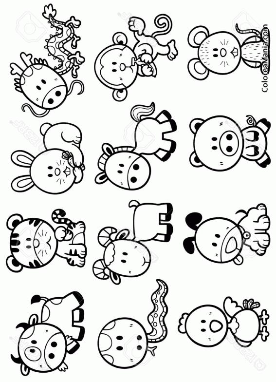 Colorear Ls 12 signos del Horóscopo Chino (Símbolos Zodíaco), dibujo ...