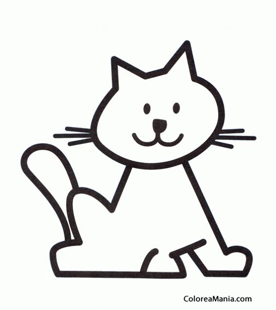 Colorear Silueta gato (Animalitos), dibujo para colorear gratis