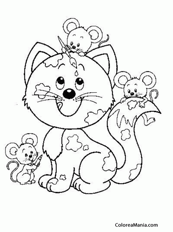 Colorear Gato Con Tres Ratones Animales Domésticos Dibujo