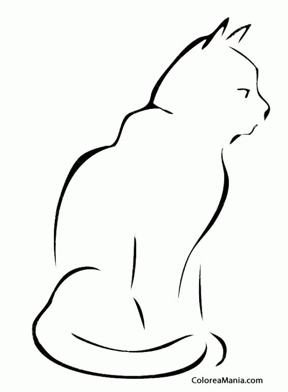 Colorear Silueta De Gato 3 Animales Domésticos Dibujo Para