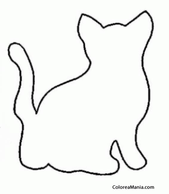 Colorear Silueta de Gato de espaldas (Animales Domésticos), dibujo