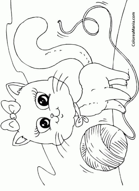 Colorear Gato Jugando Con Ovillo De Lana Animales Domésticos