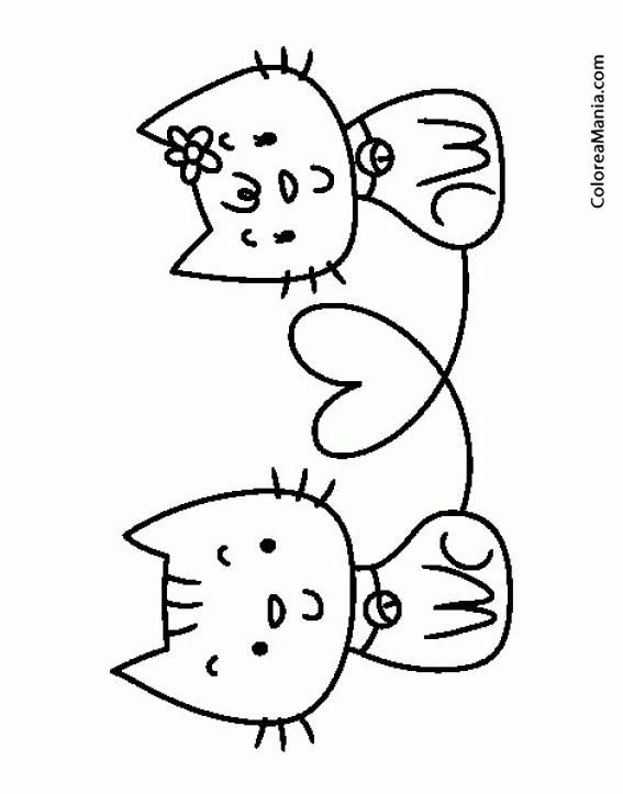 Colorear Gatitos hacen corazón con la cola (Animales Domésticos ...