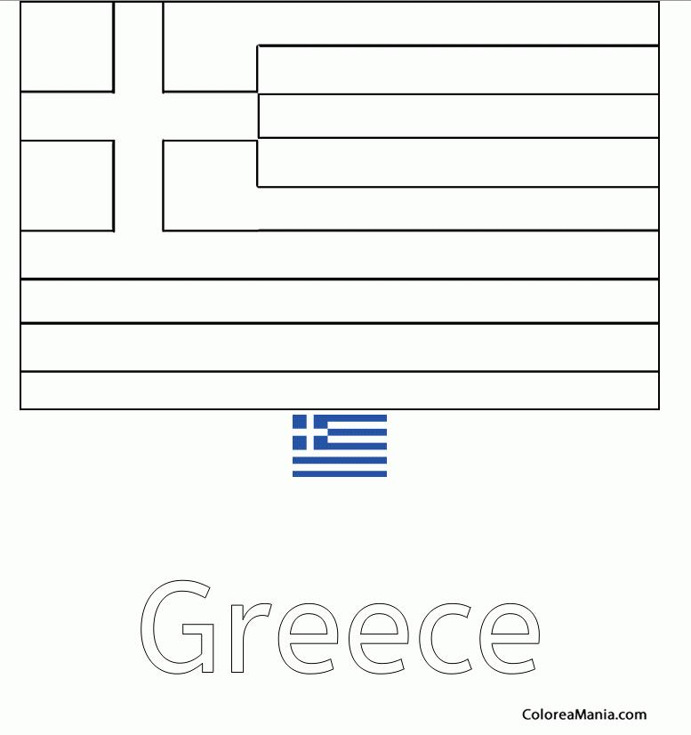 Colorear Grecia 2 (Banderas de paises), dibujo para colorear gratis