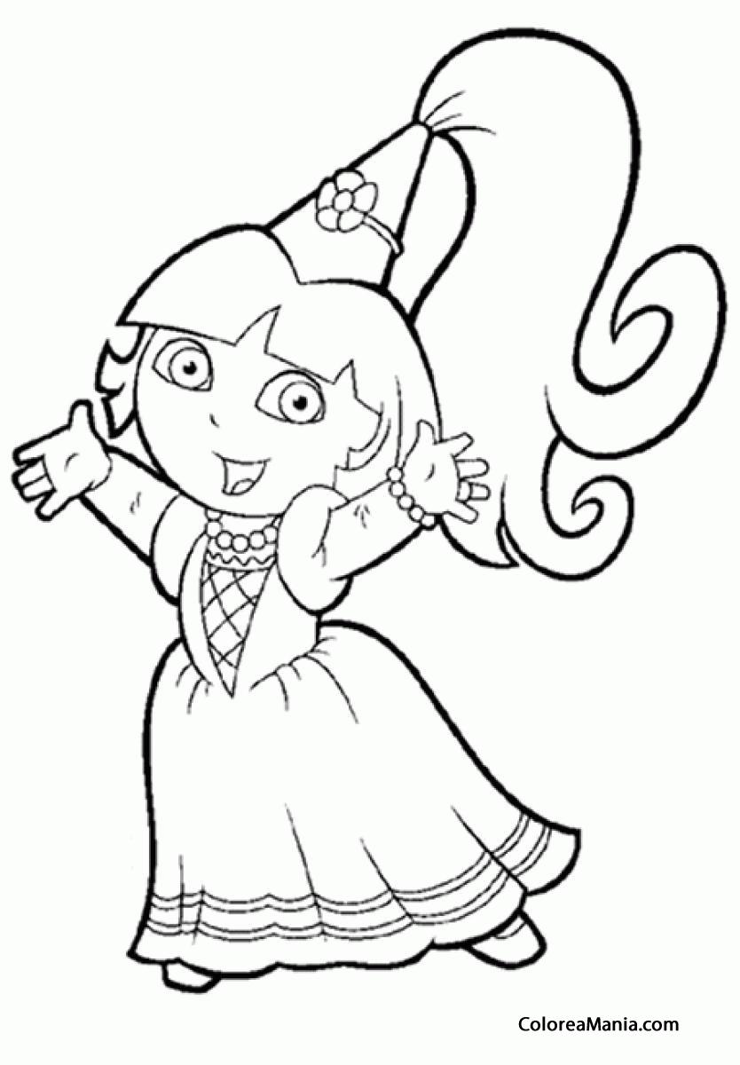 Colorear Dora Vestida De Princesa Dora La Exploradora Dibujo Para