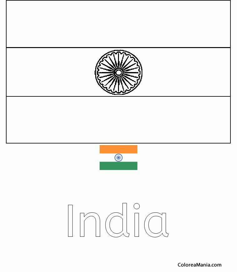 Colorear República de la India. Bharat (Banderas de paises), dibujo ...