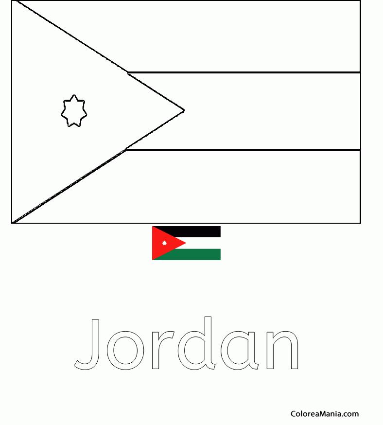 Colorear Jordania. Jordan. Jordanie (Banderas de paises), dibujo ...