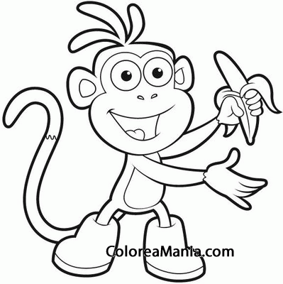 Colorear Botas come un plátano (Dora la exploradora), dibujo para ...