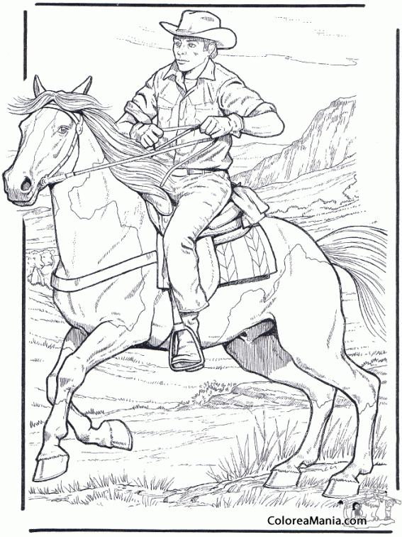 Colorear Caballo y vaquero d las montañas (Animales Domésticos ...