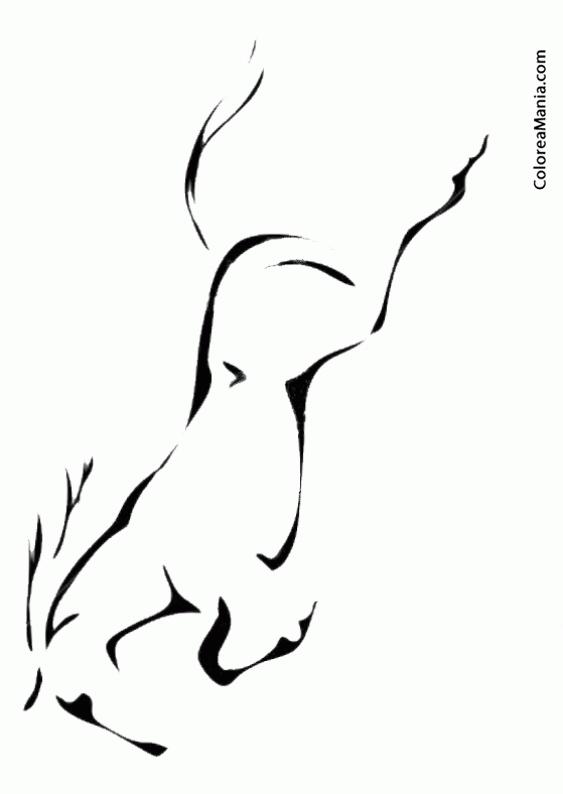 Colorear Silueta Caballo saltando (Animales Domésticos), dibujo para ...