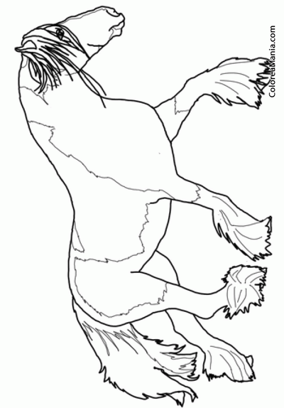 Colorear Caballo Percherón al trote (Animales Domésticos), dibujo ...