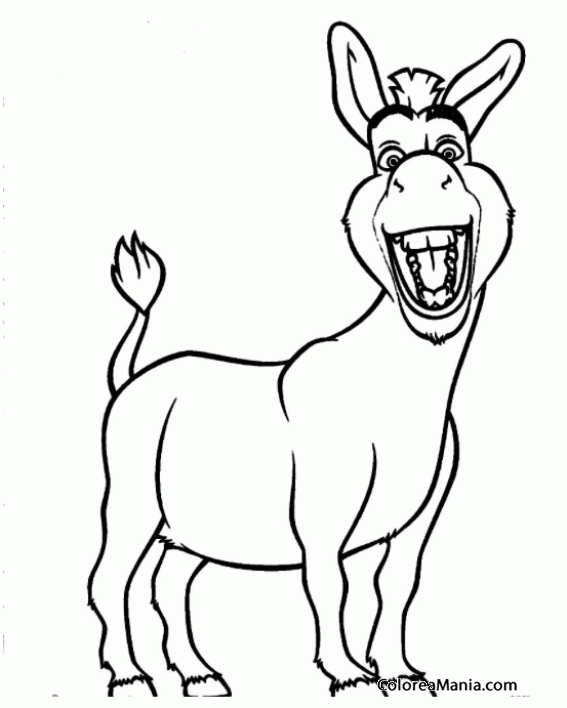 Colorear Burro de Shrek sonriendo (Animales Domésticos), dibujo para ...