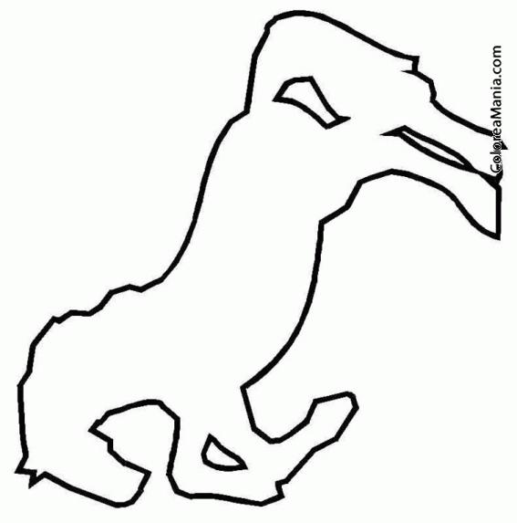 Colorear Silueta caballo encabritado (Animales Domésticos ...