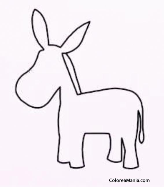 Colorear silueta burro infantil animales domsticos - Siluetas para imprimir ...