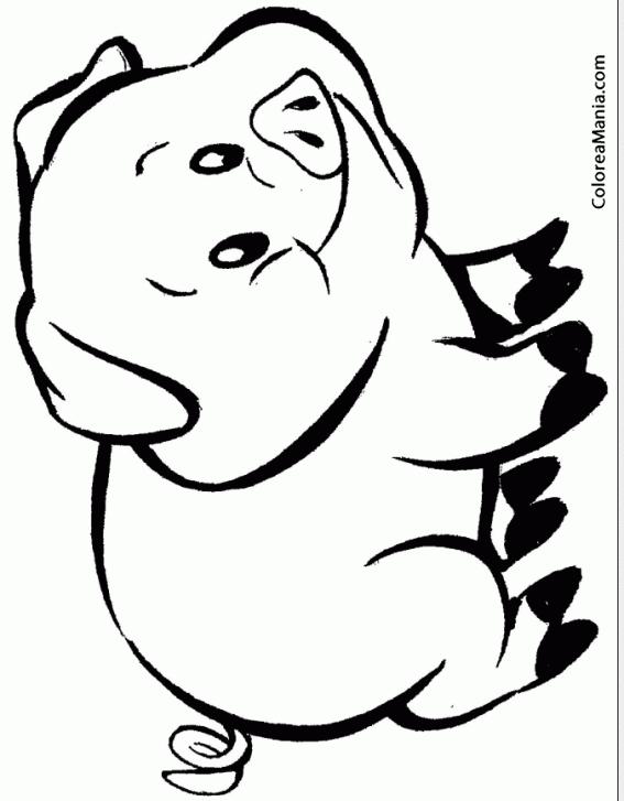 Colorear Cerdo sonriente (Animales de Granja), dibujo para colorear ...