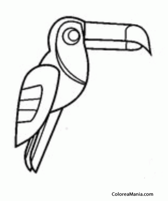 Colorear Tucán, dibujo azteca (Aves), dibujo para colorear gratis
