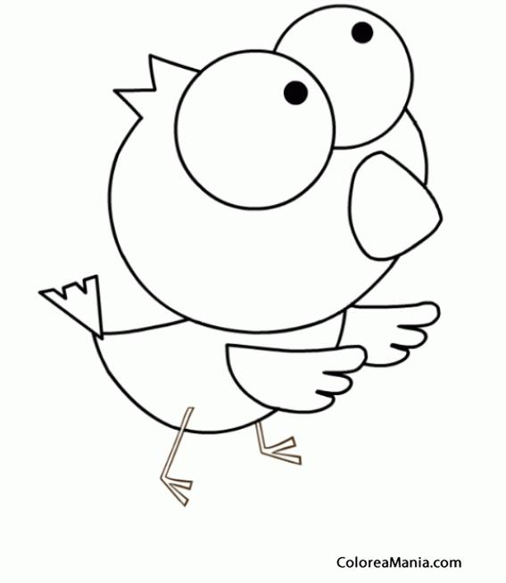 Colorear Canario ojos grandes (Aves), dibujo para colorear gratis