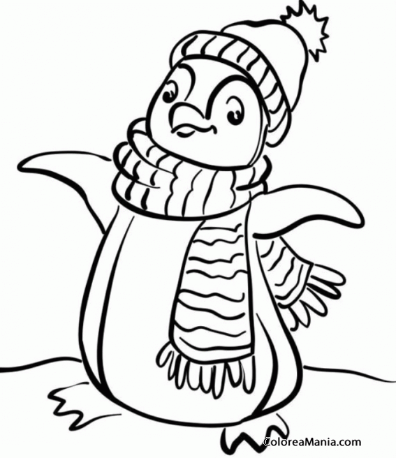 Colorear Pingüino con gorro y bufanda (Animales Polares), dibujo ...