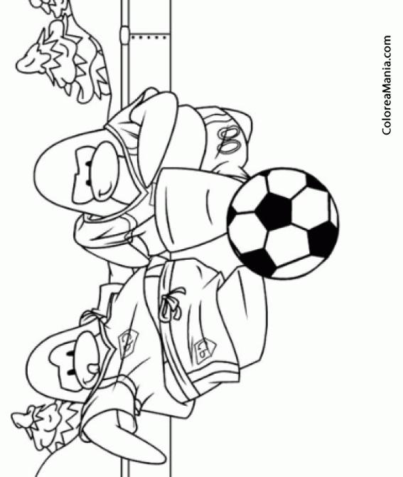 Colorear Dos Pingüinos jugando al fútbol (Animales Polares), dibujo ...