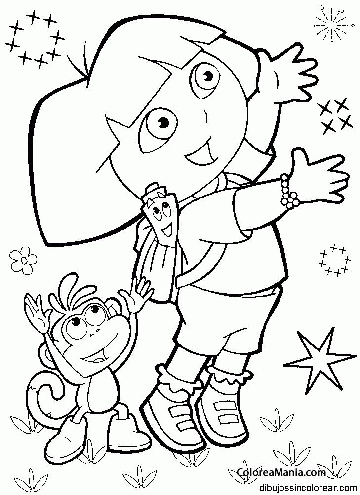 Colorear Dora y Botas ven fuegos artificiales (Dora la exploradora ...